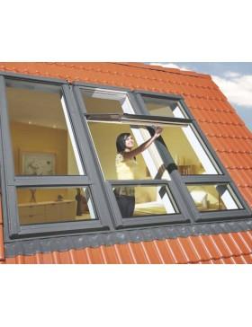 94x206 cm Duet proSky stogo langas FDY-V U3 su pakelta atidarymo ašimi ir langu apačioje
