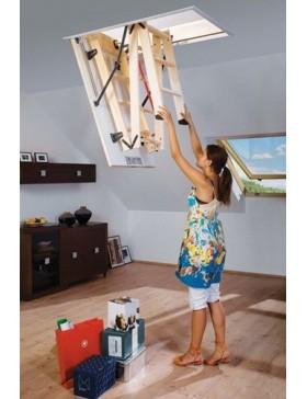 60x94 cm (patalpos aukštis H iki 280 cm) Sudedami segmentiniai palėpės laiptai su medinėmis kopėčiomis LWS Smart