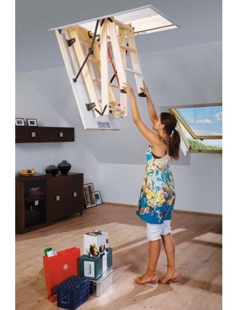 60x120 cm (patalpos aukštis H iki 280 cm) Sudedami segmentiniai palėpės laiptai su medinėmis kopėčiomis LWS Smart