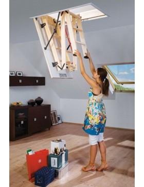 70x100 cm (patalpos aukštis H iki 280 cm) Sudedami segmentiniai palėpės laiptai su medinėmis kopėčiomis LWS Smart