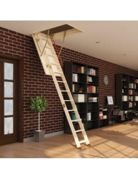 70x130 cm (patalpos aukštis H iki 280 cm) Sudedami segmentiniai palėpės laiptai su medinėmis kopėčiomis LWK Plus
