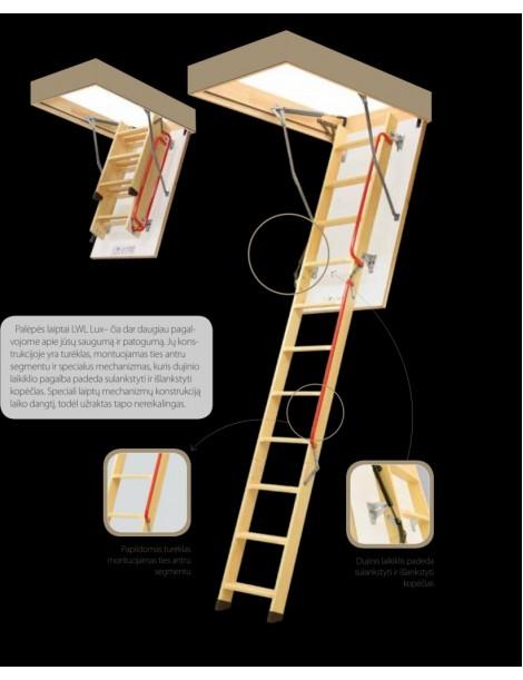 70x130 cm (patalpos aukštis H iki 280 cm) Sudedami segmentiniai palėpės laiptai su medinėmis kopėčiomis LWL Lux