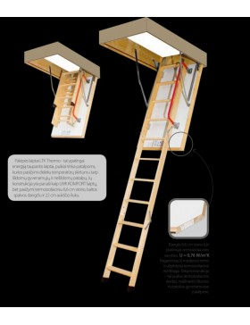 55x100 cm (patalpos aukštis H iki 280 cm) Sudedami segmentiniai palėpės laiptai su medinėmis kopėčiomis LTK Energy