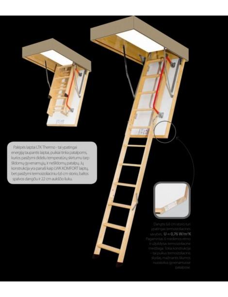 60x120 cm (patalpos aukštis H iki 280 cm) Sudedami segmentiniai palėpės laiptai su medinėmis kopėčiomis LTK Energy