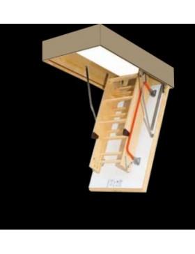 86x130 cm (patalpos aukštis H iki 305 cm) Sudedami segmentiniai palėpės laiptai su medinėmis kopėčiomis LWF - ugniai atsparūs