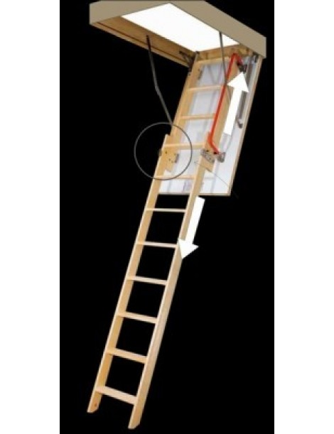 70x140 cm (patalpos aukštis H iki 305 cm) Sustumiami segmentiniai palėpės laiptai LDK - medinėmis kopėčiomis