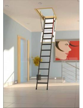 70x130 cm (patalpos aukštis H iki 280 cm) Sudedami segmentiniai palėpės laiptai su metalinėmis kopėčiomis LML Lux