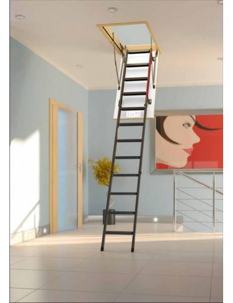 70x130 cm (patalpos aukštis H iki 305 cm) Sudedami segmentiniai palėpės laiptai su metalinėmis kopėčiomis LML Lux