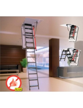 70x130 cm (patalpos aukštis H iki 305 cm) Sudedami segmentiniai palėpės laiptai su metalinėmis kopėčiomis LMF