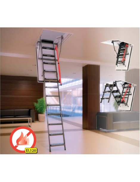 70x140 cm (patalpos aukštis H iki 305 cm) Sudedami segmentiniai palėpės laiptai su metalinėmis kopėčiomis LMF