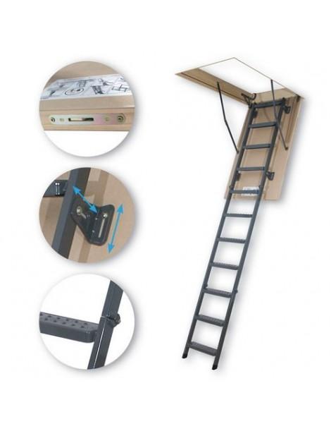 70x140 cm (patalpos aukštis H iki 305 cm) Sudedami segmentiniai palėpės laiptai su metalinėmis kopėčiomis LMS