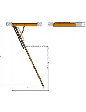 70x130 cm (patalpos aukštis H iki 280 cm) Sudedami segmentiniai palėpės laiptai su metalinėmis kopėčiomis LMK Komfort