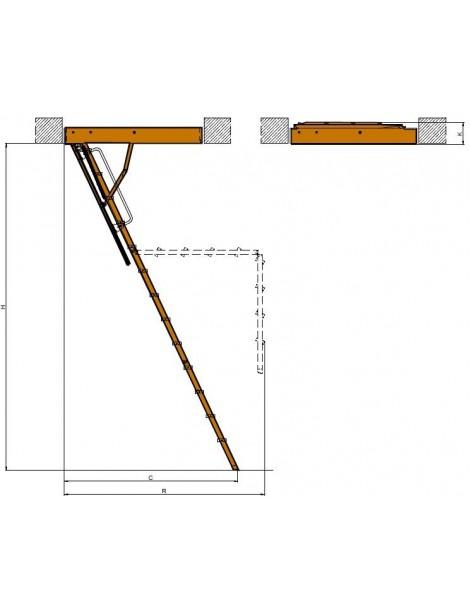 70x130 cm (patalpos aukštis H iki 305 cm) Sudedami segmentiniai palėpės laiptai su metalinėmis kopėčiomis LMK Komfort