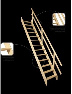 Stacionarūs mediniai laiptai MSU  70x140 cm (angos lubose minimalūs matmenys)