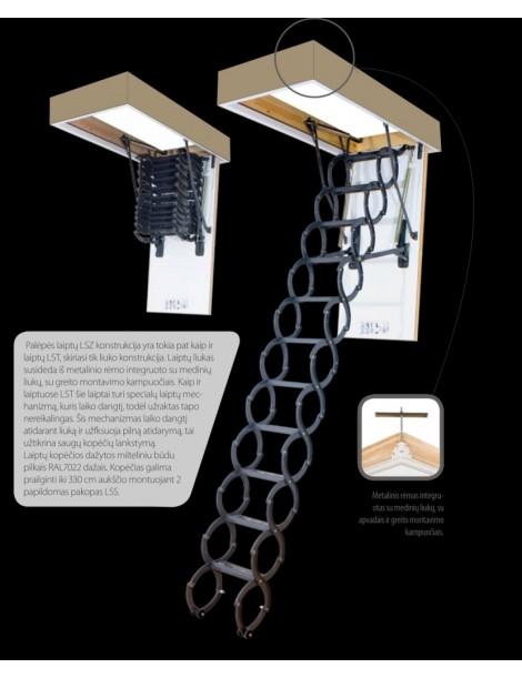 60x90 cm (patalpos aukštis H 250-280cm) Žirkliniai laiptai LSZ