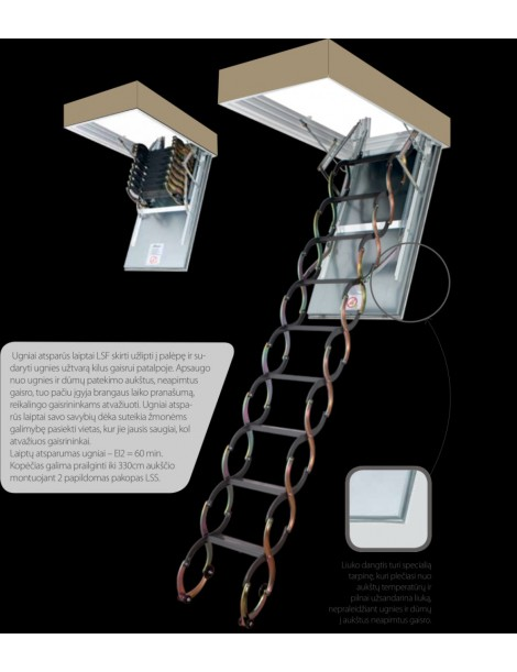 60x120 cm (patalpos aukštis H 280-300 cm) Žirkliniai laiptai LSF atsparūs ugniai