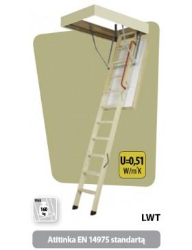 72x132 cm (patalpos aukštis H iki 280 cm) Ypatingai šilti palėpės laiptai LWT
