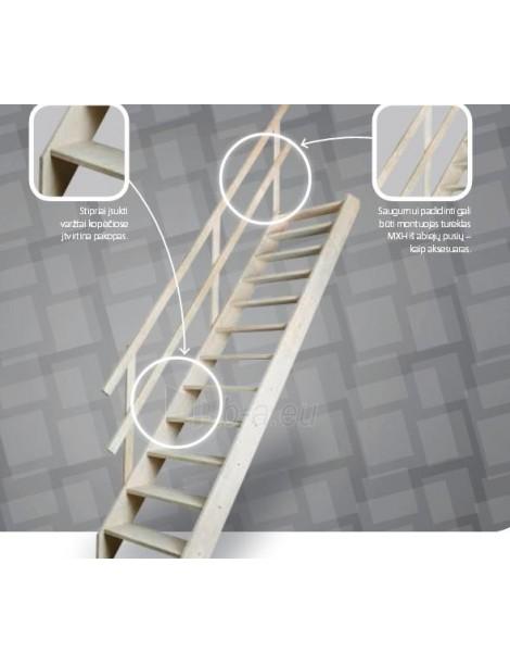 Stacionarūs mediniai laiptai MSS  70x140 cm (angos lubose minimalūs matmenys)